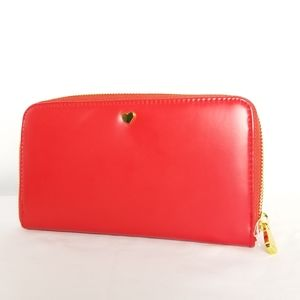 Red with gold heart zip around wallet